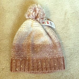 Claire's pink and jewel beanie